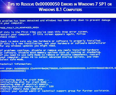 Tips to Resolve 0x00000050Errors in Windows 7 SP1 or Windows